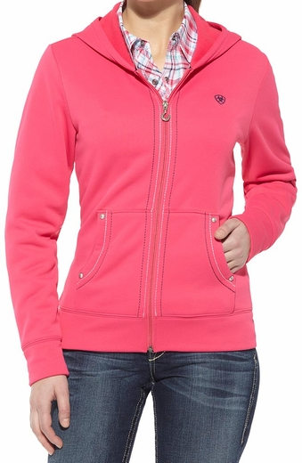 Ariat Womens Tek Fleece Zip Hoodie - Pink Pulse (Closeout)