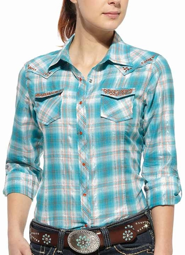 Ariat Womens Jewel Long Sleeve Fitted Plaid Western Snap Shirt - Blue
