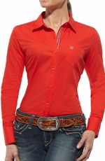 Ariat Womens Kirby Long Sleeve Western Shirt - Firey Red
