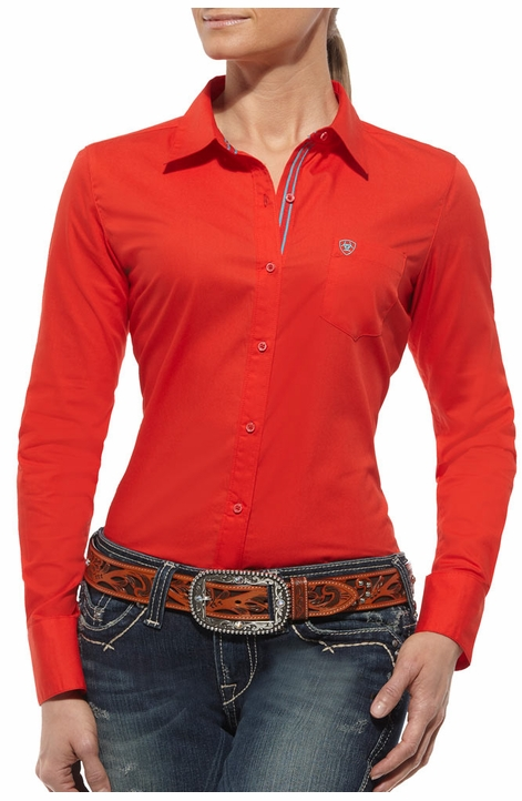 Ariat Womens Kirby Long Sleeve Western Shirt - Firey Red (Closeout)