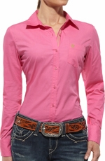 Ariat Womens Kirby Long Sleeve Western Shirt - Trippy Pink (Closeout)