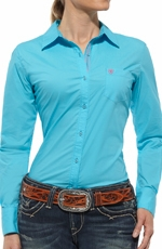 Ariat Womens Kirby Long Sleeve Western Shirt - Turquoise (Closeout)