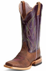 Ariat Womens La Fuega Cowboy Boots - Bunkhouse Brown/Dewed Plum