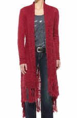 Ariat Womens Long Sleeve Fringe Cardigan - Lush Berry
