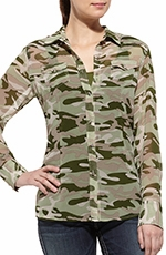 Ariat Womens Long Sleeve Hunter Shirt - Camo (Closeout)
