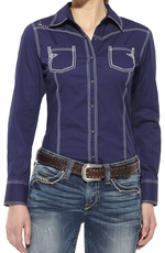 Ariat Womens  Long Sleeve Rebel Snap Shirt - Ocean Blue