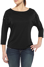 Ariat Womens Long Sleeve Savanah Knit Top - Wet Slate (Closeout)