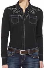 Ariat Womens Long Sleeve Tyler Snap Shirt - Black