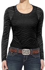 Ariat Womens Long Sleeve Zebra Crew Neck Top - Gray
