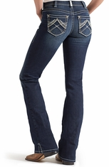 Ariat Womens Mid Rise Boot Cut Real Riding Jeans - Whipstitch Ocean (Closeout)
