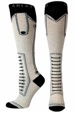 Ariat Womens Monaco Fun Knee High Socks- Oatmeal (Closeout)