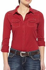 Ariat Womens Nellie Long Sleeve Snap Western Shirt - Red Sonia