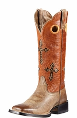"Ariat Womens Ranchero 13"" Square Toe Leopard Cross Underlay Cowboy Boots - Tawny/Sunset (Closeout)"