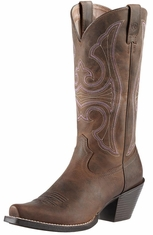 Ariat Womens Round Up D Toe Cowboy Boots - Distressed Brown (Closeout)