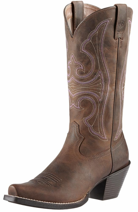 Ariat Womens Round Up D Toe Cowboy Boots - Distressed Brown