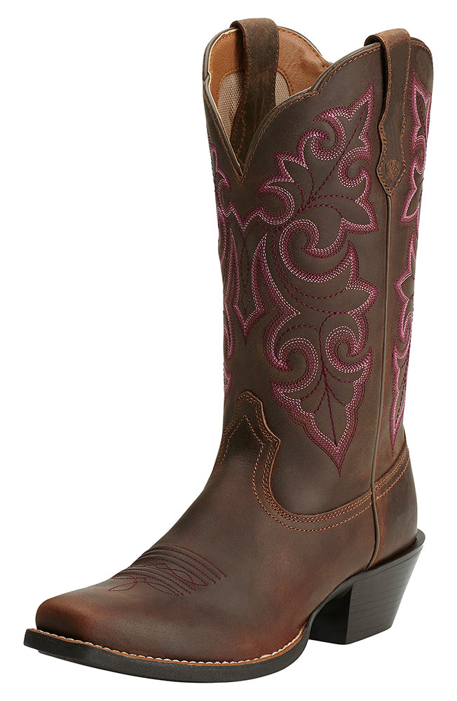 Womens Round Up Square Toe Cowboy Boots - Powder Brown