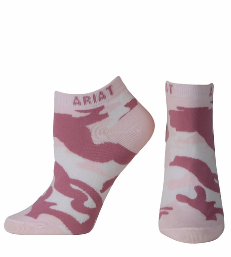 Ariat Womens Camo No Show Socks - Pink