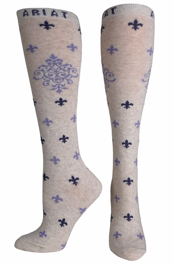 Ariat Womens Filagree Knee High Socks- Oatmeal