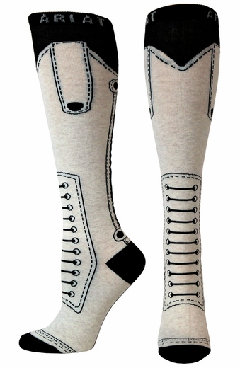 Ariat Womens Monaco Fun Knee High Socks- Oatmeal