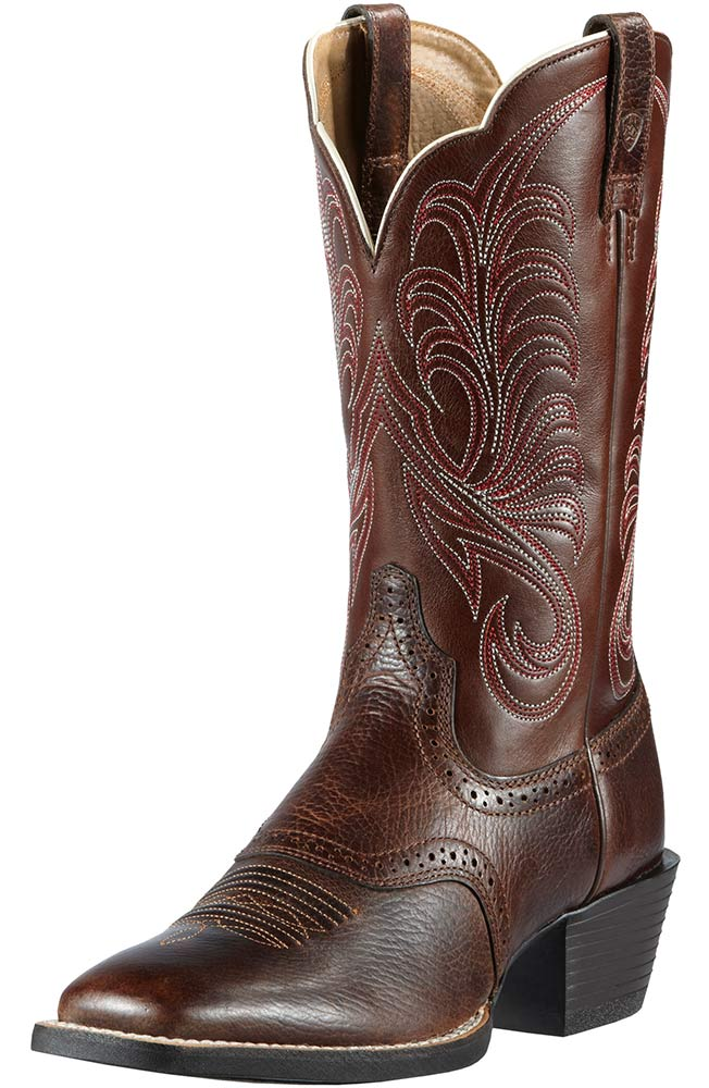 Ariat Womens Square Toe Mesquite Cowboy Boots - Fiddle Brown