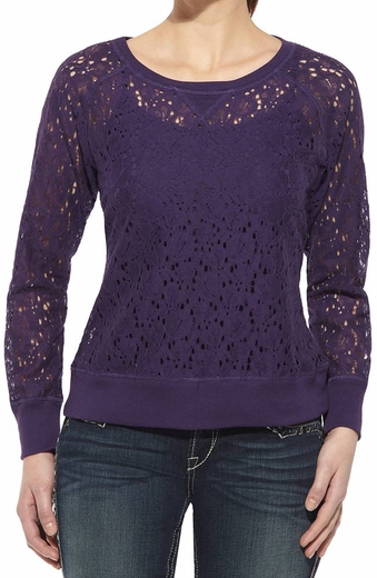 Ariat Womens Long Sleeve Lace Crew Top - Midnight Orchid (Closeout)