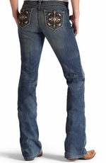 Ariat Womens Turquoise Mid Rise Boot Cut Jeans - Goldenrod