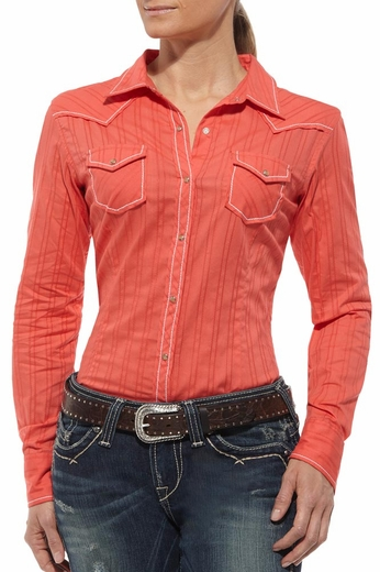 Ariat Womens Jenna Long Sleeve Western Shirt - Hot Corral (Closeout)