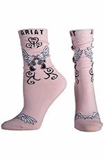 Ariat Womens Wings Ankle Socks- Pink