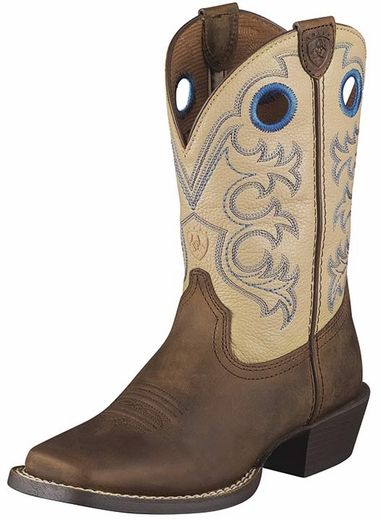 Ariat Youth Crossfire Cowboy Boots - Distressed Brown/ Cream