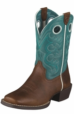 Ariat Youth Crossfire Kids Boots - Brown/Turquoise