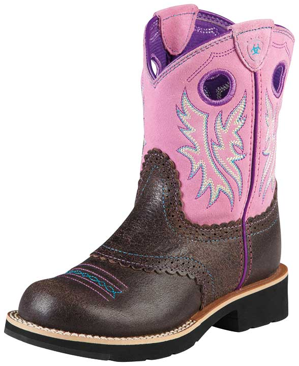 Ariat Youth Girl's Fatbaby Cowboy Boots - Roughed Chocolate/ Bubblegum