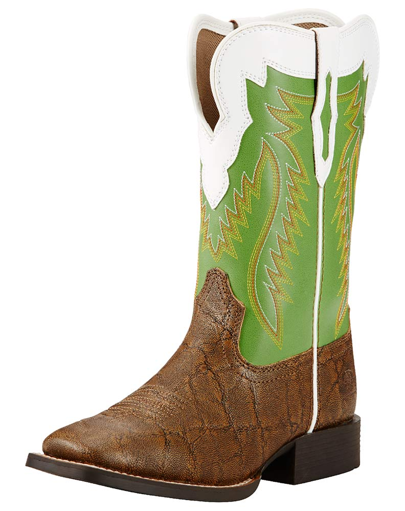 Youth Gold Buscadero Kids Square Toe Elephant Print Boots - Tan/Green
