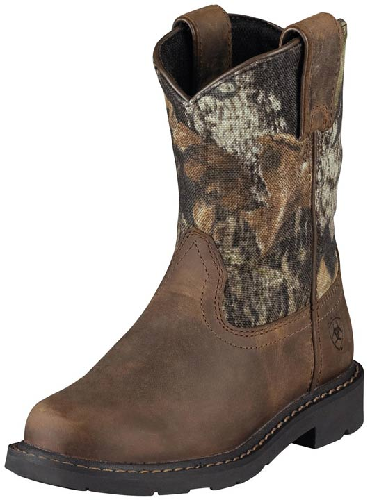 Youth Sierra Cowboy Boots - Distressed Brown/ Camo