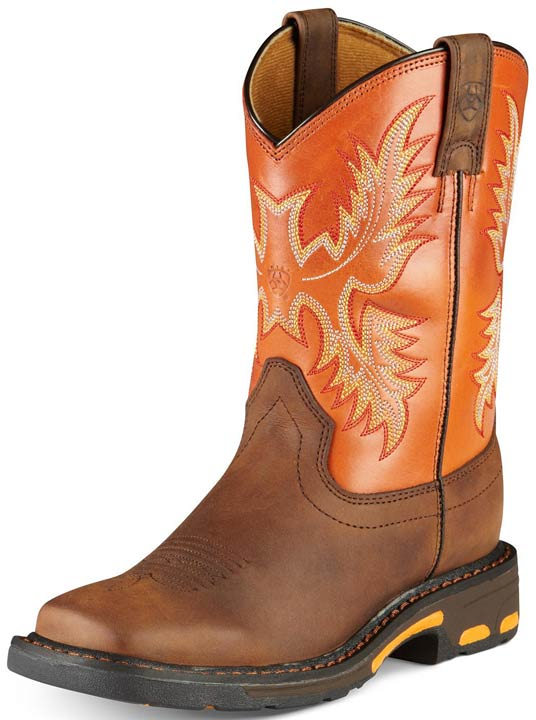 Youth Workhog Cowboy Boots - Dark Earth/ Brick
