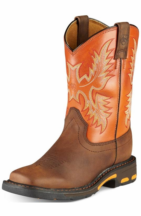 Ariat Youth Workhog Cowboy Boots - Dark Earth/ Brick