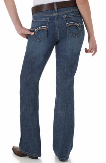 Aura Womens Mid Rise Straight Leg Instantly Slimming Jeans - Blue