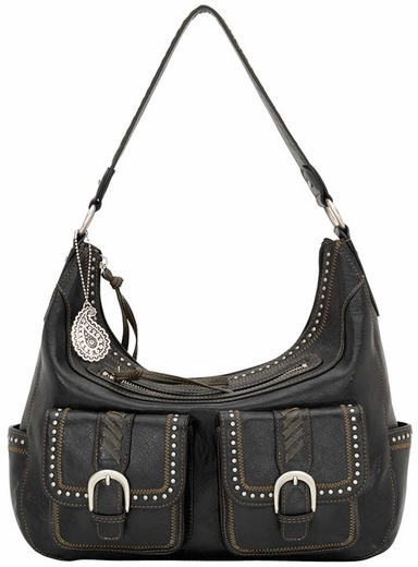 Bandana by American West Womens Cimarron Zip Top Hobo Bag - Graphite