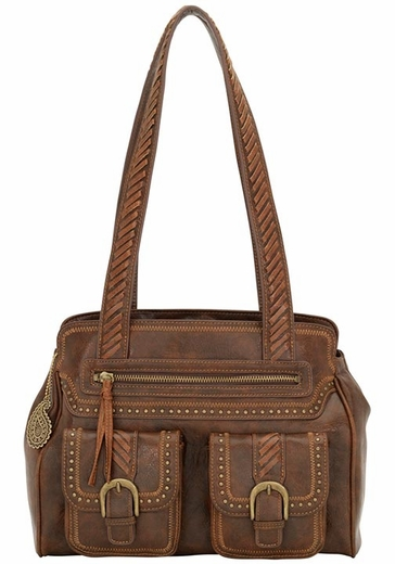 Bandana by American West Womens Cimarron Zip Top Tote Bag - Chocolate