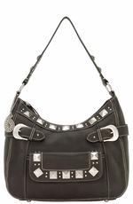 Bandana by American West Womens Houston Large Zip Top Hobo Bag - Dark Chocolate (Closeout)