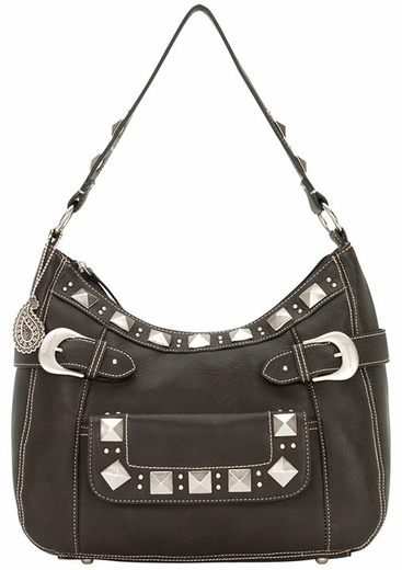 Bandana by American West Womens Houston Large Zip Top Hobo Bag - Dark Chocolate