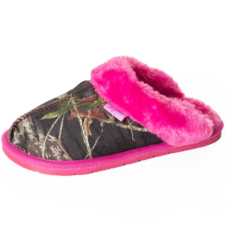 Blazin' Roxx Girl's Mossy Oak Camo Faux Fur Slipper Slide - Pink