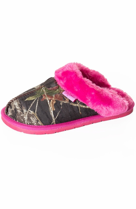 Blazin Roxx Girl's Mossy Oak Camo Faux Fur Slipper Slide - Pink