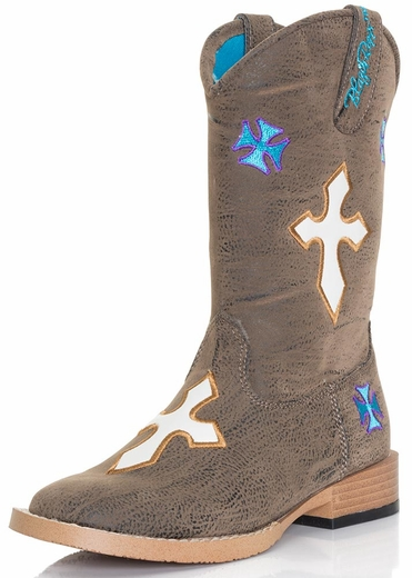 Blazin Roxx Kids Sierra Crosses Square Toe Boots - Kids Sizes (10.5-3)