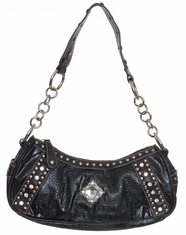 Blazin' Roxx Women's Croc Print Hobo Bag - Black (Closeout)