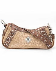 Blazin Roxx Women's Croc Print Hobo Bag - Tan (Closeout)