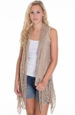 Blu Pepper Womens Knit Cardigan - Khaki