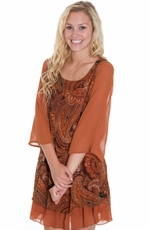 Blu Pepper Womens Print Belted Dress - Rust