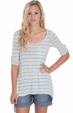 Blu Pepper Womens Stripe Top - Mint