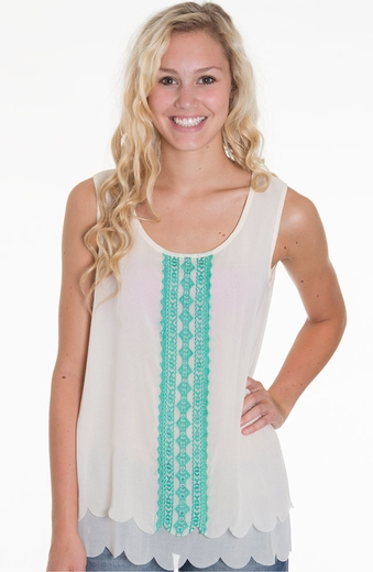 Blu Pepper Womens Embroidered Tank Top - Ivory