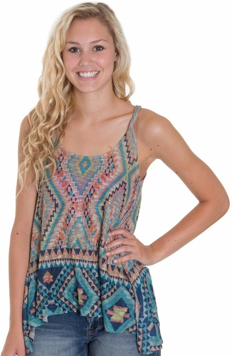 Blu Pepper Womens Tribal Print Tank Top
